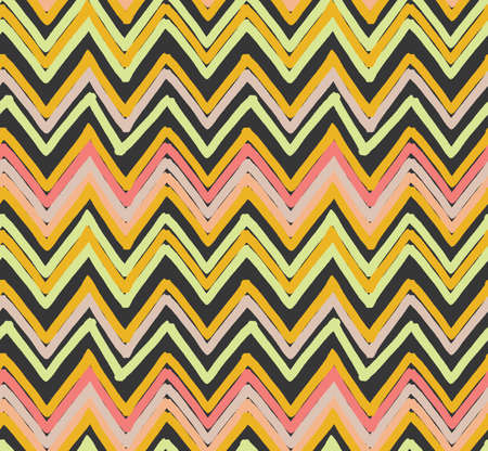 Inked triangles striped chevrons.Hand drawn with ink and marker brush seamless background.Six color pallet collection. Ilustração