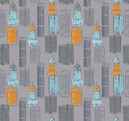 Buildings downtown.Hand drawn with ink and colored with marker brush seamless background.Creative hand made brushed design.Buildings collections six color pallet. Ilustração