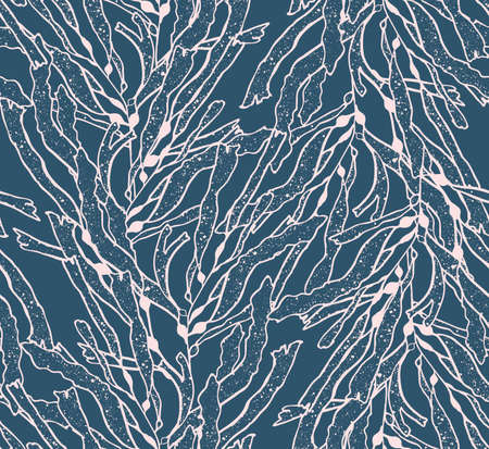kelp: Kelp seaweed pink on blue.Hand drawn with ink seamless background.Modern hipster style design. Illustration