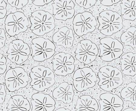 sand dollar: Sand dollar black with texture.Hand drawn with ink seamless background.Modern hipster style design.