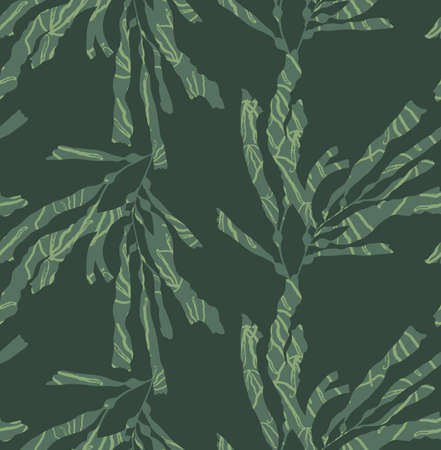kelp: Kelp forest green with texture.Hand drawn with ink and marker brush seamless background.Six color pallet collection. Illustration