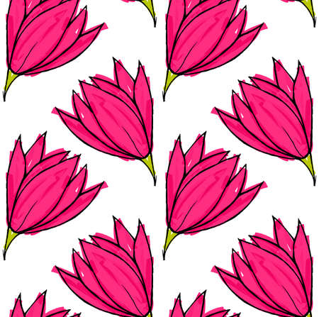 hand brushed: Big pink flower on solid white.Hand drawn with ink and colored with marker brush seamless background.Creative hand made brushed design.Big flower collection.