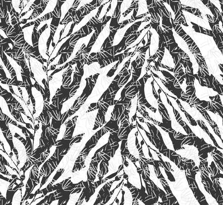 kelp: Kelp seaweed black on white with texture.Hand drawn with ink seamless background.Modern hipster style design.