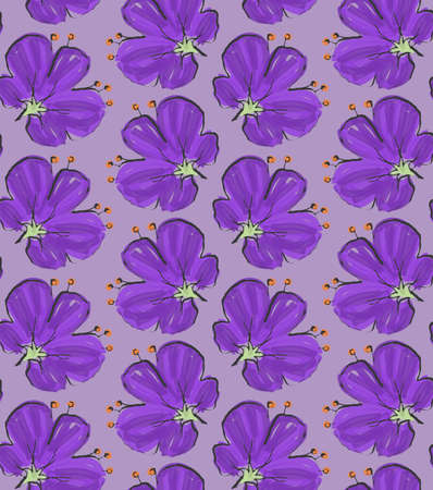 hand brushed: Big purple flower on solid purple.Hand drawn with ink and colored with marker brush seamless background.Creative hand made brushed design.