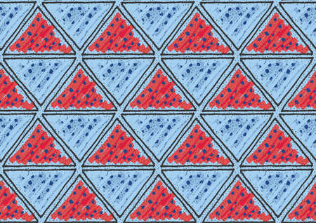 Inked triangles with red and blue.Hand drawn with ink and marker brush seamless background.Six color pallet collection.