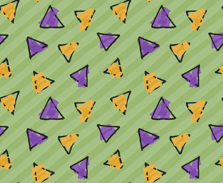 hand brushed: Rough triangles on green stripes.Hand drawn with ink and colored with marker brush seamless background.Creative hand made brushed design.