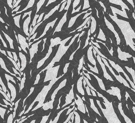 inking: Kelp seaweed overlay on black and white texture.Hand drawn with ink seamless background.Modern hipster style design.