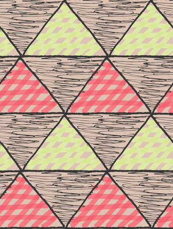 Inked triangles scribbled and checkered with pink and green.Hand drawn with ink and marker brush seamless background.Six color pallet collection.