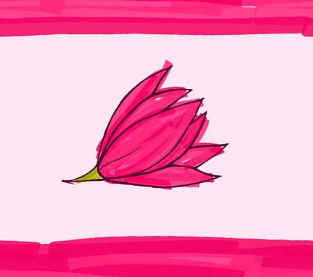 hand brushed: Big pink flower on pink with stripes.Hand drawn with ink and colored with marker brush seamless background.Creative hand made brushed design.Big flower collection. Illustration