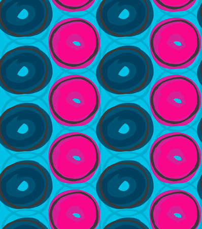 hand brushed: Blue and pink circles.Hand drawn with ink and colored with marker brush seamless background.Creative hand made brushed design.