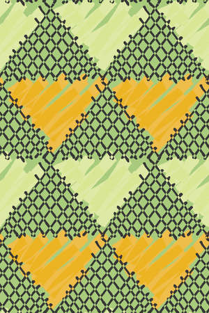 Inked triangles checkered.Hand drawn with ink and marker brush seamless background.Six color pallet collection.