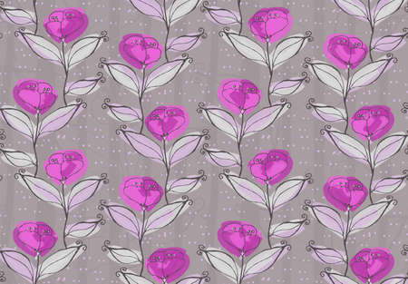hand brushed: Light purple flowers on vine.Hand drawn with ink and colored with marker brush seamless background.Creative hand made brushed design.