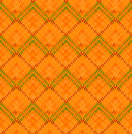 hand brushed: Orange diamond with green details.Hand drawn with ink and colored with marker brush seamless background.Creative hand made brushed design. Illustration