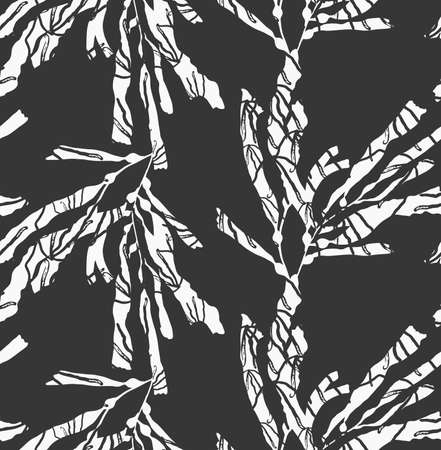kelp: Kelp seaweed textured white on black.Hand drawn with ink seamless background.Modern hipster style design. Illustration