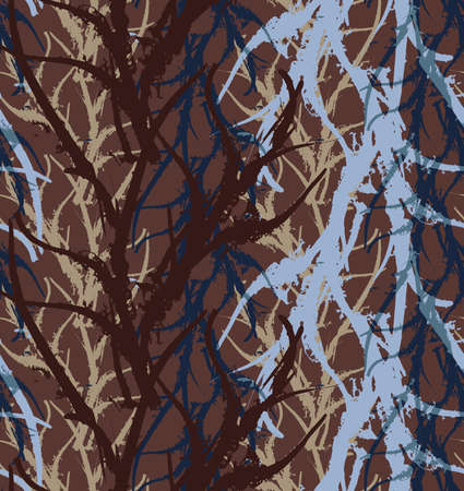 kelp: Kelp seaweed blue and brown abstract rough.Hand drawn with ink seamless background.Modern hipster style design.