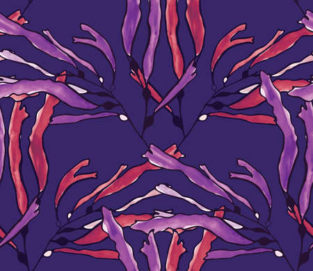 kelp: Kelp seaweed purple watercolor on purple.Hand drawn with ink and colored with marker brush seamless background.Creative hand made brushed design. Illustration