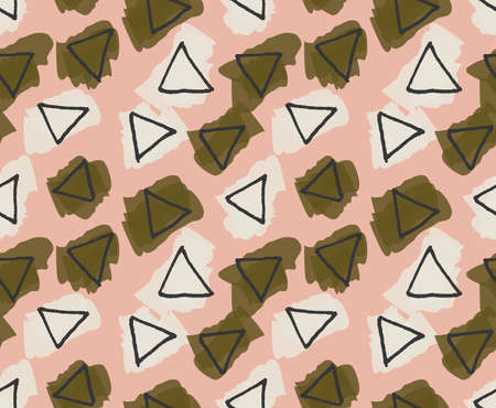 Rough triangles colored with green and yellow smudges .Hand drawn with ink and colored with marker brush seamless background.Creative hand made brushed design.