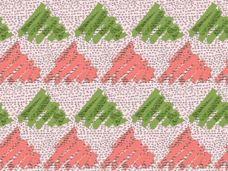 Inked triangles pink and green with circles.Hand drawn with ink and marker brush seamless background.Six color pallet collection.