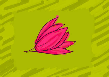 hand brushed: Big pink flower on green.Hand drawn with ink and colored with marker brush seamless background.Creative hand made brushed design.Big flower collection. Illustration