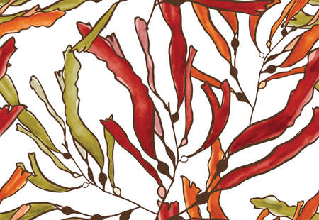 inking: Kelp seaweed brown watercolor.Hand drawn with ink and colored with marker brush seamless background.Creative hand made brushed design.