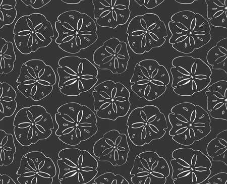 sand dollar: Sand dollar white.Hand drawn with ink seamless background.Modern hipster style design.