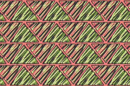 Inked triangles scribbled with pink and green.Hand drawn with ink and marker brush seamless background.Six color pallet collection.