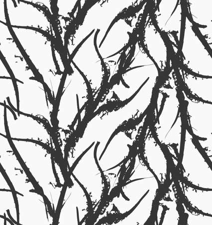 kelp: Kelp seaweed black abstract rough.Hand drawn with ink seamless background.Modern hipster style design.