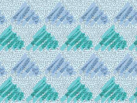 Inked triangles with green and blue.Hand drawn with ink and marker brush seamless background.Six color pallet collection.