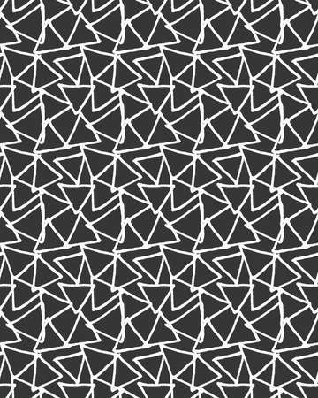 inked: Inked overlapping triangles on black.Hand drawn with ink seamless background.Monochrome rough texture.