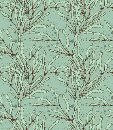 hand brushed: Kelp seaweed green with texture.Hand drawn with ink and colored with marker brush seamless background.Creative hand made brushed design.