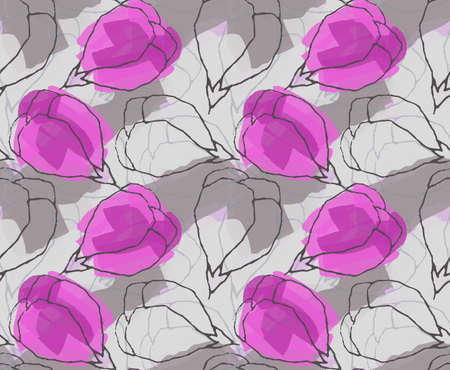 hand brushed: Light purple flower butts.Hand drawn with ink and colored with marker brush seamless background.Creative hand made brushed design. Illustration