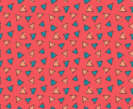 hand brushed: Rough triangles colored with blue and yellow marker .Hand drawn with ink and colored with marker brush seamless background.Creative hand made brushed design.