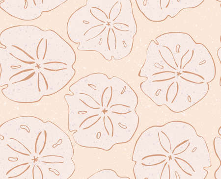 sand dollar: Sand dollar on yellow.Hand drawn with ink seamless background.Modern hipster style design.