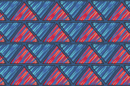 Inked triangles with red and dark blue.Hand drawn with ink and marker brush seamless background.Six color pallet collection.
