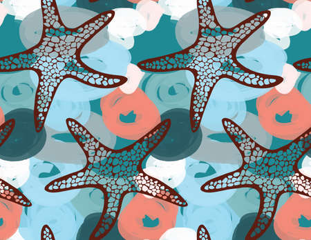 sea weeds: Sea star on red and green marker dawn bubbles.Hand drawn seamless pattern. Nature textile design. Ocean fabric collection. Illustration