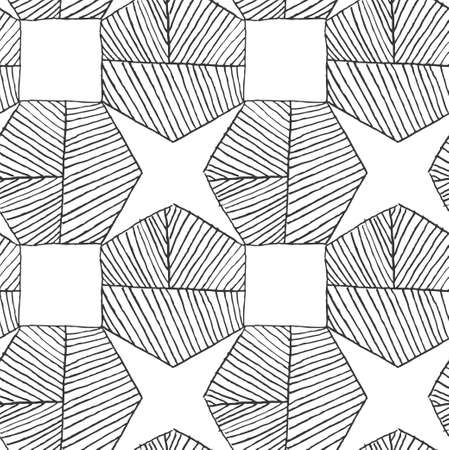 hatched: Hatched hexagons forming stars.Black and white simple hatched geometrical pattern.Hand drawn with ink seamless background.Modern hipster style design.