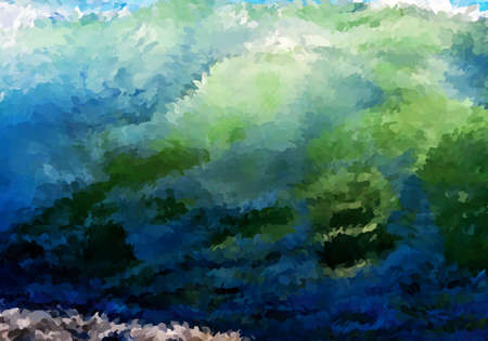 Abstract oil painted big wave.Mosaic background. Abstract nature backdrop. Oil painting simulation with mosaic elements. 向量圖像