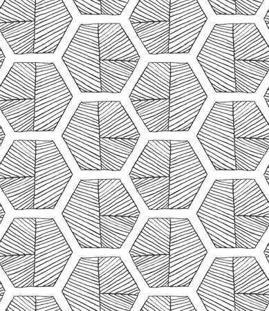 hatched: Hatched hexagons with seam.Black and white simple hatched geometrical pattern.Hand drawn with ink seamless background.Modern hipster style design. Illustration