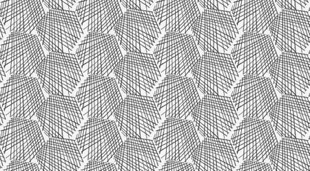 hatched: Inked strokes in hexagon shape on white.Seamless pattern. Fabric design. Simple hand drawn hatched design. Illustration
