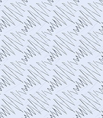 hatched: Inked strokes in diagonal zigzag on blue.Seamless pattern. Fabric design. Simple hand drawn hatched design.