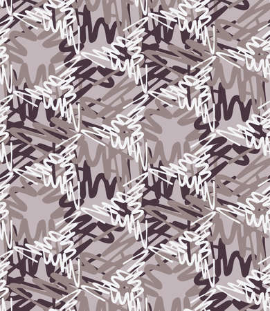 Scribbled strokes forming triangles coffee colors.Hand drawn with ink seamless background. Seamless patter. Fabric design. Textile collection.