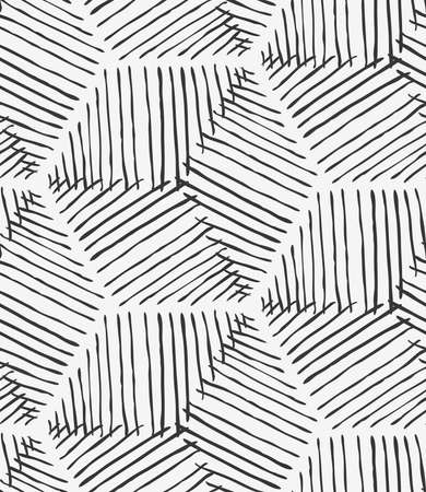 inked: Rough inked hexagons on white.Hand drawn with ink seamless background.Hatched design. Abstract hand hatched fabric. Illustration