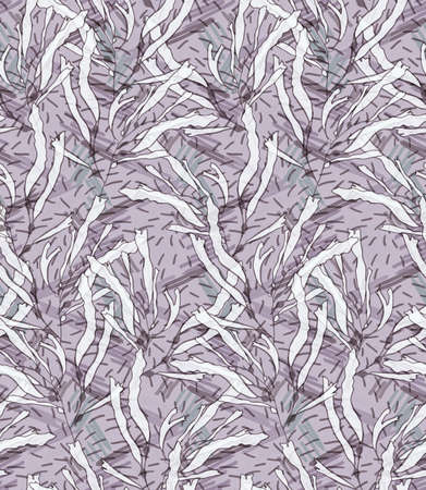 kelp: Kelp light purple hatching.Seamless pattern. Kelp fabric design Illustration