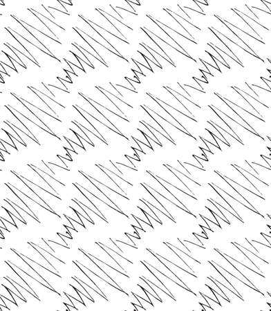 inked: Inked strokes in diagonal zigzag on white.Seamless pattern. Fabric design. Simple hand drawn hatched design.