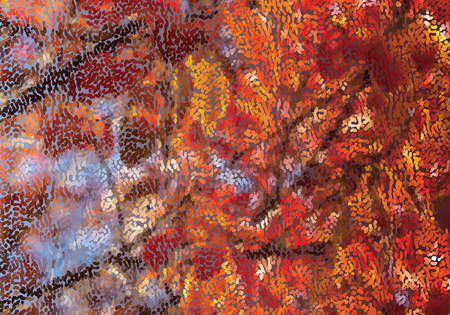 Mosaic red fall leaves.Mosaic background. Abstract nature backdrop. Oil painting simulation with mosaic elements.