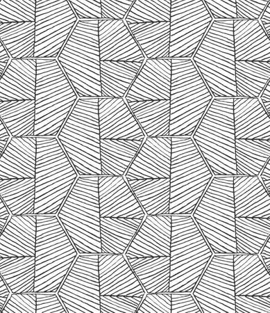 hatched: Hatched hexagons forming braid on white.Black and white simple hatched geometrical pattern.Hand drawn with ink seamless background.Modern hipster style design. Illustration