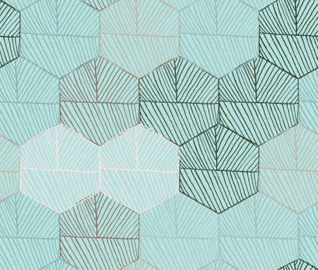 hatched: Hatched hexagons colored green.Simple hatched geometrical pattern.Hand drawn with ink seamless background.Modern hipster style design.