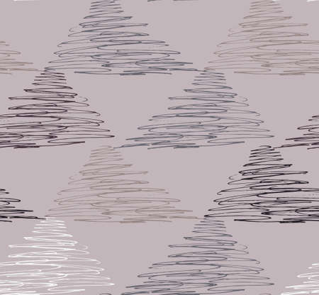 textiles: Inked strokes in scribbled triangles on brown.Seamless pattern. Fabric design. Simple hand drawn hatched design. Illustration
