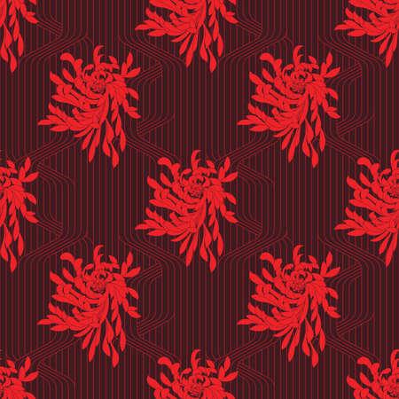 グリッドのアスターの花。シームレス パターン。フラワー デザイン。  イラスト・ベクター素材