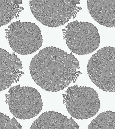 perforated: Blowfish 3D perforated.Seamless pattern. Sea life. Illustration